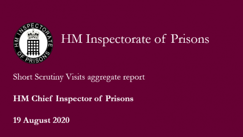 Poster reads 'short scrutiny visits aggregte report, HM Chief Inspector of Prisons, 19 August 2020'