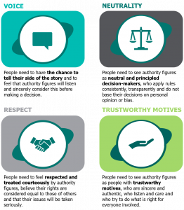 Image shows four key principles: voice, neutrality, respect and trustworthy motives.