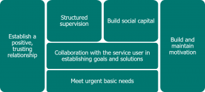 Block diagram, from left to right, reads 'Establish a positive, trusting relationship', 'Structured supervision', 'Build social capital', 'Collaboration with the service user in establishing goals and solutions', 'Meet urgent basic needs' and 'Build and maintain motivation'.